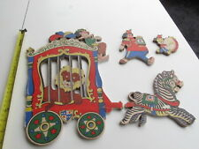 Vintage Dolly Toy Co. 1954 Wall Hangers Circus 4 Pieces