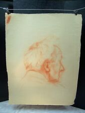 Old Man Portrait From Behind Original Red Pencil by C. Schattauer Kelm
