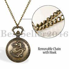 Mens Dragon Vintage Steampunk Retro Bronze Pocket Watch Quartz Pendant Necklace