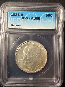 1923-S Silver Commemorative Monroe AU55