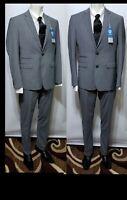 NWT Vince Camuto Mens 40R  Slim  Wool Gray Glen Plaid  Jacket Suit  pants 34x36