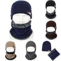 Men's Winter Warm Beanie Hat Thick Woolly Knit Hats Ribbed Outdoor Hiking Cap