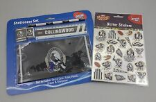 OFFICIAL AFL COLLINGWOOD STATIONARY 5 PIECE SET + GLITTER STICKERS