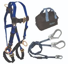FallTech Safety Harness 7017; 8259Y3 Lanyard and 5006MP Storage Bag Combo, 1 ea