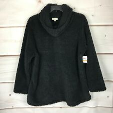Style & Co Plus Size Sherpa Cowl Neck Womens 3X Casual Black Pullover Sweater