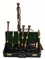 Brand New Great Highland Rosewood Bagpipe Full Silver Amounts With Hard Case