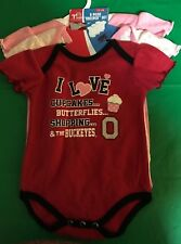 Lot of 3 OHIO STATE University infant creepers 0-3 M romper New Licensed