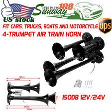 150db 12V 24V 150PSI Black Plated Zinc 4 Trumpet Train Air Horn Sets Truck Boat