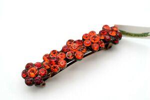 MICHAL NEGRIN Romantic Floral Hair Pin Clip, Red Orange Swarovski Crystals, New!