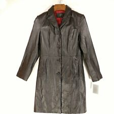 COLEBROOK Women's Leather Coat - Long Black Jacket Button Front Red - Medium