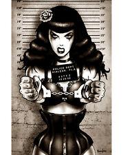 TooFast Matte BAD BETTIE MUGSHOT Poster Rockabilly