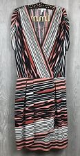 Max and Cleo Dress Large Faux Wrap Short Sleeve Drop Waist Swing Multi-Color