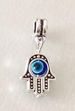 Hamsa Hand Of Fatima Blue Evil Eye Pendant Charm For Bracelets Silver Plated