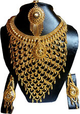 Indian Necklace Earrings 22K Gold Plated Bollywood Exclusive Tikli Tikka Set