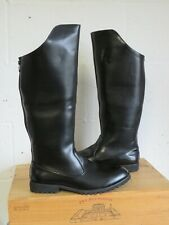 BLACK FAUX LEATHER RIDING STYLE BIKER BOOTS SIZE 10.5 / 45 GOOD USED CONDITION