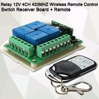 10A Relay 12V 4-CH 433MHZ Wireless Remote Control Switch Receiver Board  #U
