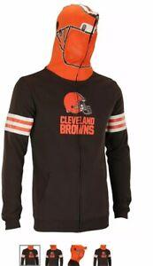 NFL Youth Large 14/16 Cleveland Browns Full Zip Orange Helmet Mesh Masked Hoodie