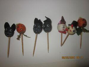 7 Vintage Halloween SPUN COTTON JAPAN Toppers Cupcake PICKS CAT  PUMPKIN
