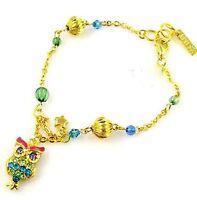 Color oro gufo ciondolo bracciale con perline w/ cristallo & perline