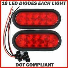 "2X6"" 10 LED Red Oval Sealed Turn Brake Stop Tail Light Truck Trailer RV boat Kit"