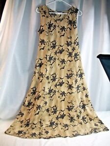 Impressions of California Size Small Bown and Black Floral Sleeveless Dress