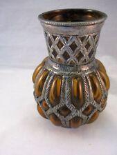 METAL CASED GLASS VASE