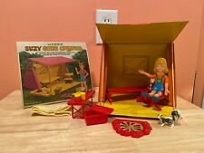 �Vintage Miner Suzy Goes Camping Doll Playset Tent Campfire - Complete - Rare!