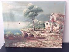 Original Óleo Sobre Lienzo Paisaje Casa acantilados de mar costa océano nublado obra de arte