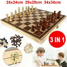 3 in 1 Schach, Holz Schachspiel / Dame / Backgammon Set, 24x24cm 29x29cm 34x34cm