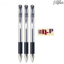 Uni-ball Signo UM151 0.5mm Fine Tip Gel Comfort Grip Rollerball BLACK INK Set 3