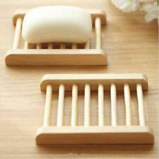Wooden Bamboo Soap Tray Dish Holder Drain Storage Rack Bathroom Accessories