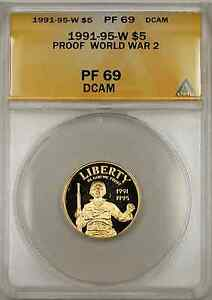 1991-95-W Proof World War II Commemorative Gold Coin $5 ANACS PF 69 Proof DCAM
