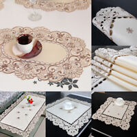White Embroidery Floral Lace Tablecloth Wedding Dining/Party Table Cloth Cover