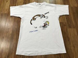 MEDIUM - Vtg 90s Calvin and Hobbes Single Stitch Fruit Loom Cotton T-shirt USA