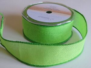 Hessian/Burlap Wire Edged Ribbon, 38mm Wide in Lime Green or Burgundy Red