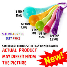 MEASURING BAKING SPOONS CUPS KITCHEN TOOLS TEASPOON BRIGHT COLORED 5PCS UTENSIL