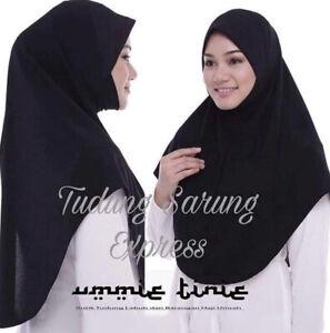Black Express Hijab Instant Hijab Khimar One Piece Slip On Pinless Headscarf