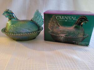 Vintage Blue Iridescent Carnival Glass Chicken Hen On Nest - Indiana Glass w/box