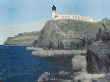 "Neist Point & Lighthouse, Skye - Scottish Mini Cross Stitch Kit 8"" x 6"" - 14 Ct"