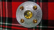 TC Traditionnel Highland Mouche Plaid Broche 5 doré Pierre/écossais Écossaise