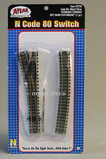"""ATLAS N SCALE CODE 80 STANDARD LEFT HAND SWITCH TRAIN TRACK SECTION ns 19"""" 2750"""