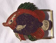 Vintage Painted Fish Brass Belt Buckle From India Never Used