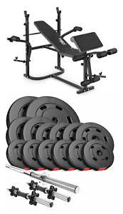 Pro Home Exercise Bench With Prayer Book + SET 58 kg  Weights Plates and Bars