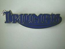 MOTORCYCLE PIN BADGE 'TRIUMPH SCRIPT' BLUE MOTORBIKE LAPEL BADGE - BG47B