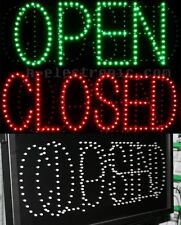 LED Shield NEON SIGN OPEN Open Signs Green Open Closed Blink Neon