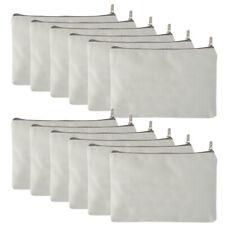 12x Lot Aspire Blank Canvas Pouch Zipper Makeup Bag 6-3/4 x 4-3/4, White Color