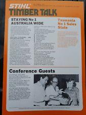 Stihl Timbertalk dealer handout, chainsaw, old stock 1977