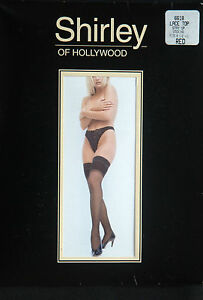 Shirley of Hollywood Lace Top Stay Up Thigh-Hi Red Stockings One Size
