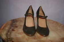 MICHEL PERRY WOMEN'S BROWN SUEDE HELL SHOES MADE IN ITALY  SIZE 39.5, US 8.5