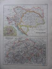 1900 ANTIQUE MAP ~ AUSTRIA HUNGARY VIENNA PLAN BOSNIA BOHEMIA ~ SWITZERLAND